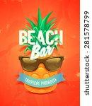 vector poster pineapple in... | Shutterstock .eps vector #281578799