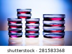 samples in petri dishes in... | Shutterstock . vector #281583368