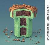 3d cake font letter t   Shutterstock . vector #281593754