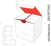 cube box with die cut layout  | Shutterstock .eps vector #281597543