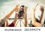 people dancing at the concert... | Shutterstock . vector #281599274