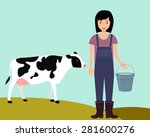 concept agriculture. woman... | Shutterstock .eps vector #281600276