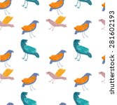 seamless pattern with birds ... | Shutterstock .eps vector #281602193