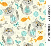 seamless pattern with cats. | Shutterstock .eps vector #281605004