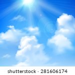 Sun Shining In Blue Sky With...