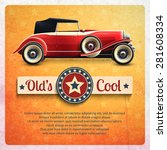 Retro Car Poster With Vintage...