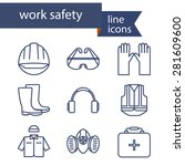 set of line icons for safety... | Shutterstock .eps vector #281609600