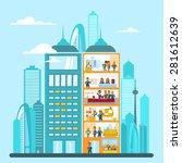 modern office building in... | Shutterstock .eps vector #281612639