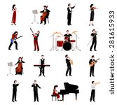 Musicians Flat Icons Set With...