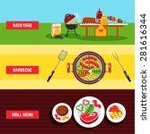 barbecue horizontal banner set... | Shutterstock .eps vector #281616344