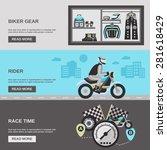 rider horizontal banner set... | Shutterstock .eps vector #281618429