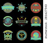 set of retro emblems for summer ... | Shutterstock .eps vector #281627543