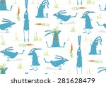 Stock vector brightly colored fun cartoon rabbits animals seamless pattern background hare or rabbit baby 281628479