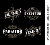 set monochrome art deco luxury antique gold hipster minimal geometric vintage linear vector frame , border , label  for your logo, badge or crest | Shutterstock vector #281645594
