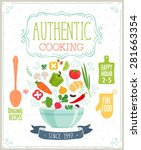 authentic cooking poster.... | Shutterstock .eps vector #281663354