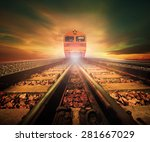 trains on junction of railways... | Shutterstock . vector #281667029