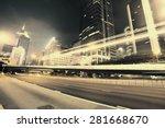 traffic in hong kong at night | Shutterstock . vector #281668670