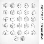 cubic alphabet set. modern 3d... | Shutterstock .eps vector #281670359
