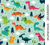 adorable seamless pattern with... | Shutterstock .eps vector #281686004