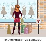 illustration modern girl loaded ... | Shutterstock . vector #281686310