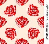 seamless pattern  red flowers... | Shutterstock .eps vector #281693630