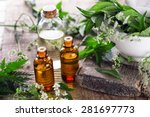bottles with organic essential... | Shutterstock . vector #281697773