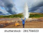 woman  turist delighted geyser...   Shutterstock . vector #281706023