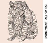 patterned bear zentangle style. ... | Shutterstock .eps vector #281735423