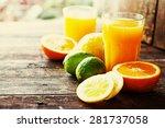 citrus fruit and juice  multy... | Shutterstock . vector #281737058