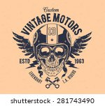 rider skull with retro racer... | Shutterstock .eps vector #281743490