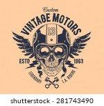 rider skull with retro racer...