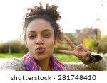 Selfie Portrait Of A Cute Girl...