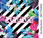 art poster with fashion exotic... | Shutterstock .eps vector #281753483