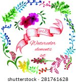 vector watercolor floral... | Shutterstock .eps vector #281761628