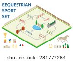 horse jumping obstacle | Shutterstock .eps vector #281772284
