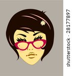 funky girl with pink spec | Shutterstock .eps vector #28177897
