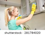 Stock photo people housework and housekeeping concept happy woman cleaning cabinet with rag and cleanser at 281784020