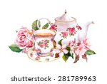 Teacup And Tea Pot With Pink...
