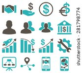 business charts and bank icons. ... | Shutterstock .eps vector #281798774