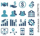 business charts and bank icons. ... | Shutterstock .eps vector #281799770
