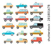 set of cartoon cars. flat... | Shutterstock .eps vector #281801678