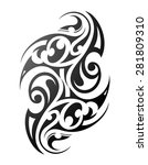 maori tribal tattoo design.... | Shutterstock .eps vector #281809310
