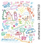 multicolored child drawing... | Shutterstock . vector #281827910