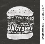 hamburger on chalkboard. tasty... | Shutterstock .eps vector #281836574