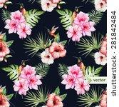 watercolor vector tropical... | Shutterstock .eps vector #281842484
