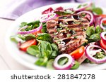 fillet of beef with salad | Shutterstock . vector #281847278