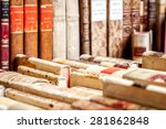 books with leather covers in a... | Shutterstock . vector #281862848