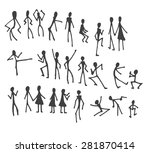 set of doodle people | Shutterstock .eps vector #281870414