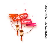 banner with red ribbon and... | Shutterstock .eps vector #281876504