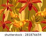 seamless tropical flower  plant ... | Shutterstock . vector #281876654